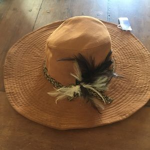 Boho suede & feather floppy rancher hat